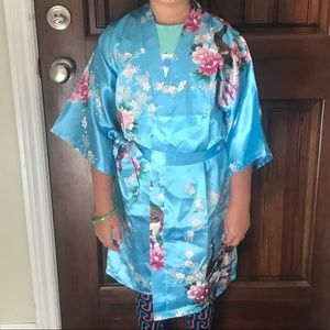 Other - New Blue Girls Japanese Asian Kimono Robe Size 12